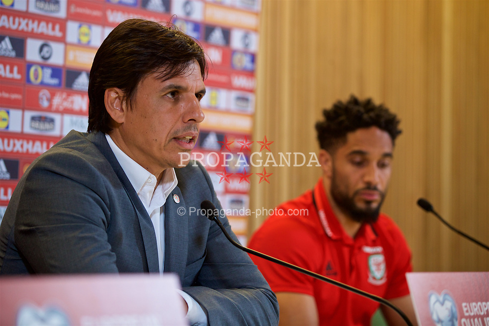 DUBLIN, REPUBLIC OF IRELAND - Thursday, March 23, 2017: Wales' manager Chris Coleman and wcaptain Ashley Williams during a press conference at the Aviva Stadium ahead of the 2018 FIFA World Cup Qualifying Group D match against Republic of Ireland. (Pic by David Rawcliffe/Propaganda)