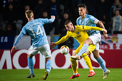 February 14, 2019 - MalmÃ, Sweden - 190214 Ross Barkley of Chelsea compete for the ball with Anders Christiansen and Markus Rosenberg of Malmö FF during the Europa league match between Malmö FF and Chelsea on February 14, 2019 in Malmö..Photo: Ludvig Thunman / BILDBYRÃ…N / kod LT / 92225 (Credit Image: © Ludvig Thunman/Bildbyran via ZUMA Press)