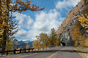 A tunnel on Going to the Sun Road in Glacier National Park, Montana, in autumn on Tuesday, October 7, 2014. Going to the Sun Road which goes to Logan Pass and crosses the continental divide is the only road that crosses Glacier National Park and was completed in 1932.