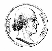 (Christian Friedrich) Samuel Hahnemann (1755-1843), German physician. Founded Homeopathy c1798.  Engraving after a commemorative medal.