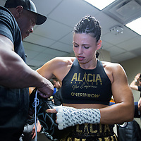 Female boxer Alicia Napoleon is seen in her locker room prior to her match against Femke Hermans during the WBC Heavyweight Championship boxing match at Barclays Center on Saturday, March 3, 2018 in Brooklyn, New York. (Alex Menendez via AP)