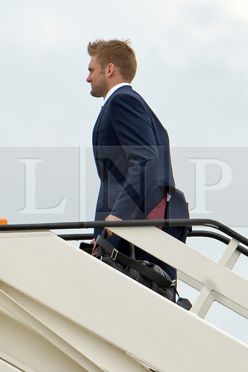 © London News Pictures. 06/06/2012. Luton, UK.  England and West Ham goalkeeper Robert Green boarding a plane at Luton Airport in Bedfordshire on June 6, 2012 to head to Poland for the Euro 2012 football tournament. The squads training camp is based in Krakow.  Photo credit: Ben Cawthra/LNP