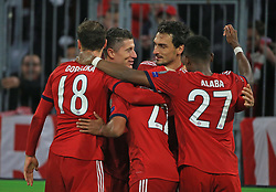 07.11.2018, Champions League, FC Bayern vs AEK Athen, Allianz Arena  Muenchen,  Fussball, Sport, im Bild:..FCB Jubel zum 2:0 Leon Goretzka (FCB), Robert Lewandowski (FCB), Joshua Kimmich (FCB), Mats Hummels (FCB) und David Alaba (FCB)...DFL REGULATIONS PROHIBIT ANY USE OF PHOTOGRAPHS AS IMAGE SEQUENCES AND / OR QUASI VIDEO...Copyright: Philippe Ruiz..Tel: 089 745 82 22.Handy: 0177 29 39 408.e-Mail: philippe_ruiz@gmx.de. (Credit Image: © Philippe Ruiz/Xinhua via ZUMA Wire)