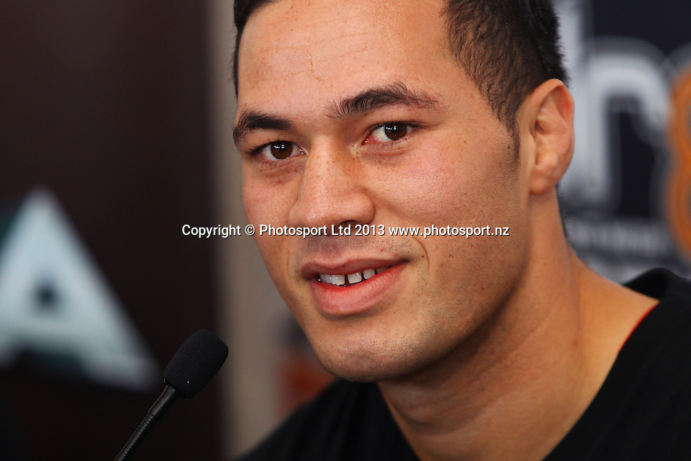 Joseph Parker, Hydr8 Zero Explosion final press conference to announce the full fight card ahead of Thursday nights boxing event. Northern Steamship bar, Auckland. Monday 10 June 2013. Photo: William Booth/photosport.co.nz