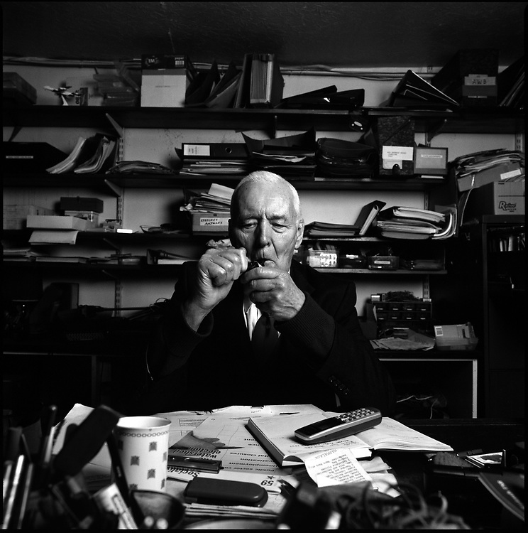 Tony Benn, a left-wing former MP and Minister in successive Labour Party Governments and leading opponent of the wars with Iraq and Afghanistan. Photographed in his home in Holland Park, West London.