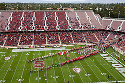 October 23, 2010; Stanford, CA, USA;  The Stanford Cardinal enter the field before the game against the Washington State Cougars at Stanford Stadium.  Stanford defeated Washington State 38-28.