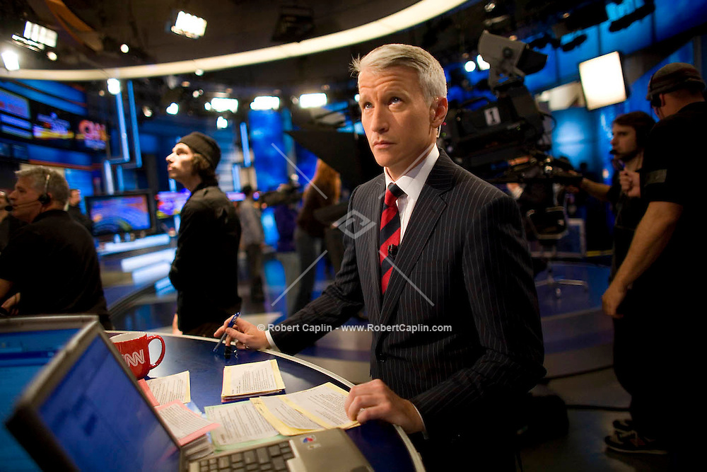Anderson Cooper during CNN's 2006 election coverage in CNN's New York Studios, Nov. 7, 2006. Photo By Robert Caplin for the New York Times..
