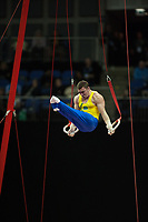 Artur NABARRETE ZANETTI (BRA), competes in the rings, The London Prepares Visa International Gymnastics