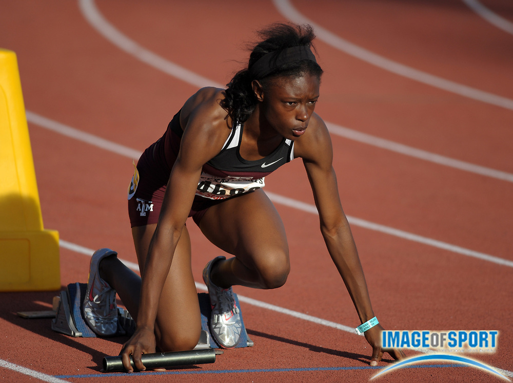 Mar 30, 2012; Austin, TX, USA; LaKeidra Stewart of Texas A&M in the starting blocks of the womens 1,600m sprint medley relay in the 85th Clyde Littlefield Texas Relays at Mike A. Myers Stadium.