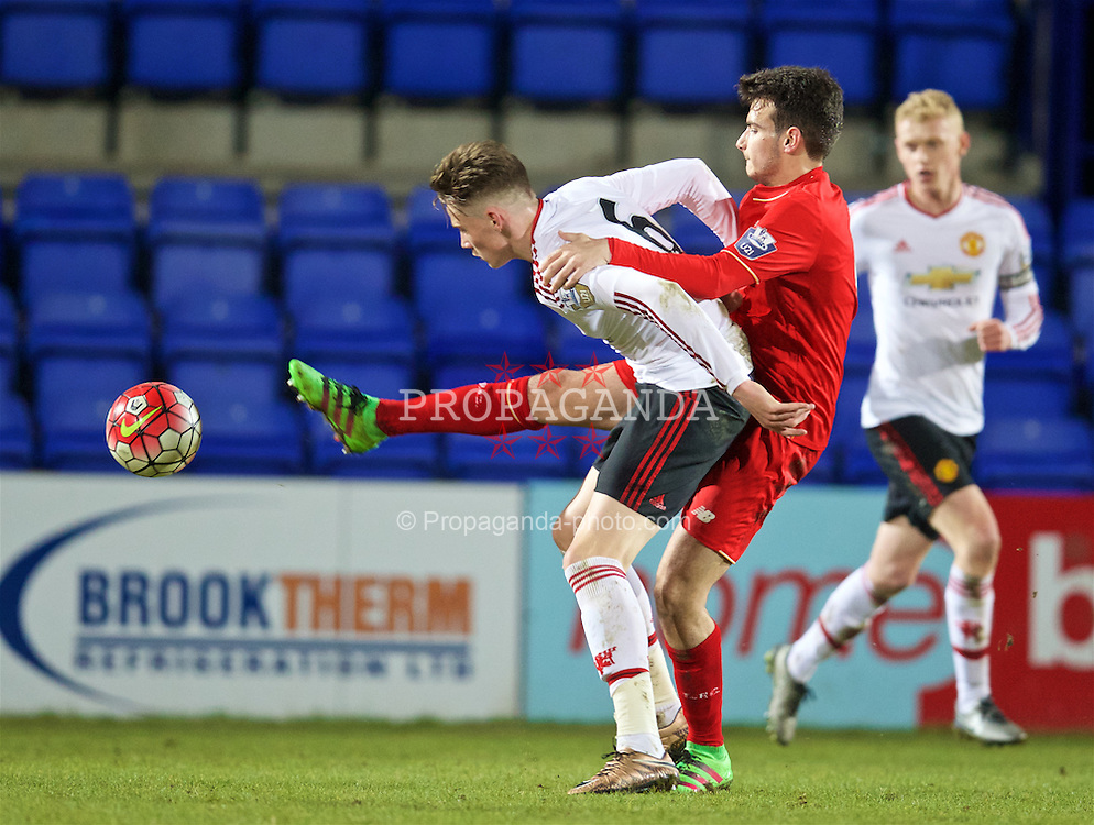 BIRKENHEAD, ENGLAND - Friday, March 11, 2016: Liverpool's Pedro Chirivella in action against Manchester United's Scott McTominay during the Under-21 FA Premier League match at Prenton Park. (Pic by David Rawcliffe/Propaganda)