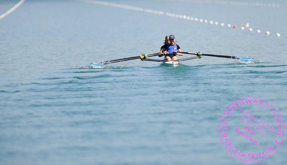 (FRONT) CHRISTINA GIAZITZIDOU & (BACK) TRIANTAFYLIA KALAMPOKA (BOTH GREECE) COMPETE AT LIGHTWEIGHT WOMEN'S DOUBLE SCULLS HEAT DURING DAY 1 FISA ROWING WORLD CUP ON ESTANY LAKE IN BANYOLES, SPAIN...BANYOLES , SPAIN , MAY 29, 2009..( PHOTO BY ADAM NURKIEWICZ / MEDIASPORT )..PICTURE ALSO AVAIBLE IN RAW OR TIFF FORMAT ON SPECIAL REQUEST.