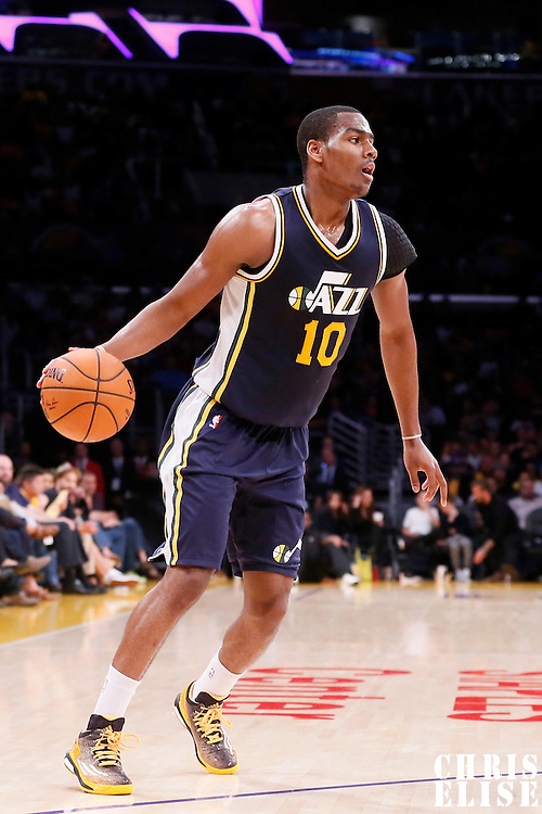 19 October 2014: Utah Jazz guard Alec Burks (10) dribbles during the Los Angeles Lakers 98-91 victory over the Utah Jazz, in a preseason game, at the Staples Center, Los Angeles, California, USA.