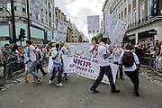 A UKIP LGBT group broke through the barriers of the London Pride Parade on June 27, 2015, after being banned from the march by organizers. They were eventually allowed to remain, though asked to move back in the lineup to distance themselves from several other groups.<br /> <br /> CREDIT: DANIELLA ZALCMAN
