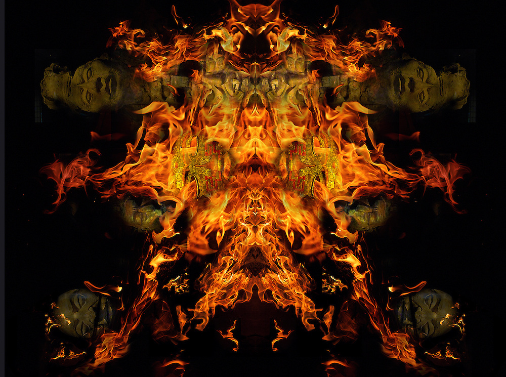 this composite is made up of many small fire photos and Mayan figures that I found in Mexico.