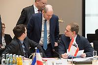 16 MAR 2017, BERLIN/GERMANY:<br /> Bjoern Boehning, SPD, Chef der Berliner Senatskanzlei, Olaf Scholz, SPD, 1. Buergermeister Hamburg, Michael Mueller, SPD, Reg. Buergermeister Berlin, (v.Ln.R.), im Gespraech, vor Beginn einer Sitzung der Ministerpraesidentenkonferenz, Bundesrat<br /> IMAGE: 20170316-01-013<br /> KEYWORDS: Ministerpr&auml;sidentenkonferenz, MPK, Bj&ouml;rn B&ouml;hning, Michael M&uuml;ller, Gespr&auml;ch
