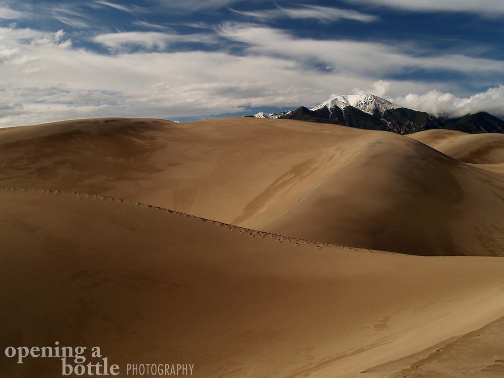 Great Sand Dunes National Park and Preserve, Colorado. The Sangre de Cristo Mountains can be seen in the distance. Much of the park's interior has been designated as a federal wilderness area.