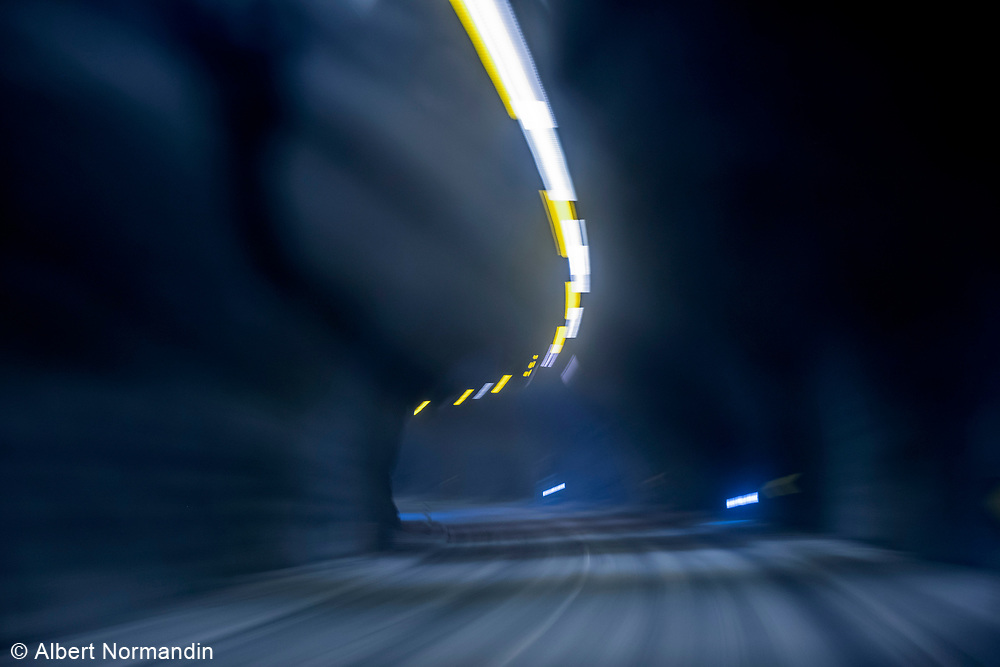 Traveling through a tunnel, blur and lights, Snaefellness Peninsula, Iceland
