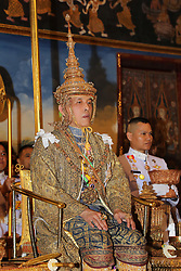 04-05-2019 Thailand King Maha Vajiralongkorn Bodindradebayavarangkun (Rama X), with Queen Suthida, sits under the Royal Nine-tiered Umbrella at Baisal Daksin Throne Hall in Bangkok. 04 May 2019 Pictured: 04-05-2019 Thailand King Maha Vajiralongkorn Bodindradebayavarangkun (Rama X), with Queen Suthida, sits under the Royal Nine-tiered Umbrella at Baisal Daksin Throne Hall in Bangkok. Photo credit: Committee coronation/POOL / MEGA TheMegaAgency.com +1 888 505 6342