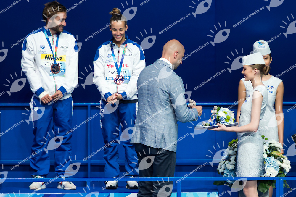 Medal Ceremony with FINA delegates<br /> Diving - Mixed 3m Synchro springboard final<br /> Day 10 02/08/2015<br /> XVI FINA World Championships Aquatics Swimming<br /> Kazan Tatarstan RUS July 24 - Aug. 9 2015 <br /> Photo Giorgio Perottino/Deepbluemedia/Insidefoto