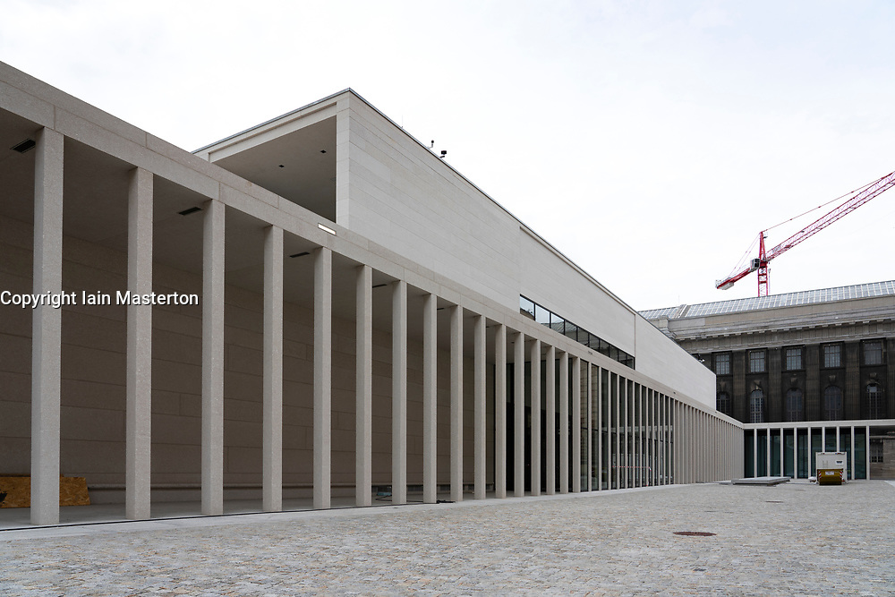 View of new James Simon Galerie at Museumsinsel in Berlin, Germany. The new building will house centralised ticketing and visitor centre for the museums on historic Museum Island .
