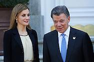 Queen Letizia of Spain meet the President of Colombia Juan Manuel Santos and wife, Maria Clemencia Rodriguez de Santos for an official lunch atPalacio de la Zarzuela on March 1, 2015 in Madrid, Spain.