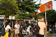 Tsunami warning sign - images taken, on February 2017 in Sanur, Bali, Indonesia