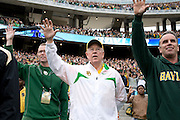 Judge Ken Starr, President and Chancellor of Baylor University, stands during the school song before the Bears defeated #9 TCU in Waco, Texas on October 11, 2014. (Cooper Neill for The New York Times)