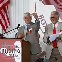 Boxing writer Colin Hart receives his ring after being inducted during the 2013 International Boxing Hall of Fame induction ceremony  on Sunday, June 9, 2013 in Canastota, New York.  (AP Photo/Alex Menendez)