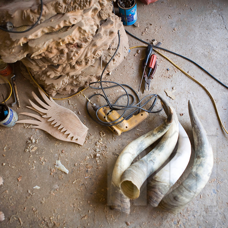 Workshop of craftsman specialized in wood carving and horn sculpture. Village of Du Du close from Hanoi.