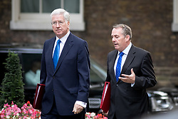 © Licensed to London News Pictures. 17/10/2017. London, UK. Defence Secretary Sir Michael Fallon and International Trade Secretary Liam Fox arriving in Downing Street to attend a Cabinet meeting this morning. Photo credit : Tom Nicholson/LNP