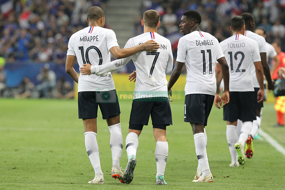 June 1, 2018 - Paris, Ile-de-France, France - From left: Kylian Mbapp (France), Antoine Griezmann (France) and Ousmane Dembl (France) during the friendly football match between France and Italy at Allianz Riviera stadium on June 01, 2018 in Nice, France..France won 3-1 over Italy. (Credit Image: © Massimiliano Ferraro/NurPhoto via ZUMA Press)