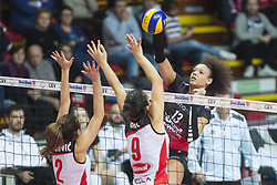December 12, 2017 - Busto Arsizio, Varese, Italy - Valentina Diouf (#13 Yamamay e-work Busto Arsizio) during the Women's CEV Cup match between Yamamay e-work Busto Arsizio and ZOK Bimal-Jedinstvo Brcko at PalaYamamay in Busto Arsizio, Italy, on 12 December 2017. Italian Yamamay e-work Busto Arsizio team defeats 3-0 Bosnian ZOK Bimal-Jedinstvo Brcko. (Credit Image: © Roberto Finizio/NurPhoto via ZUMA Press)