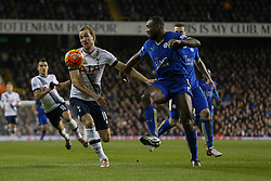 Harry Kane of Tottenham Hotspur on the attack under pressure from Wes Morgan of Leicester City - Mandatory byline: Jason Brown/JMP - 07966386802 - 13/01/2016 - FOOTBALL - White Hart Lane - London, England - Tottenham v Leicester City - Barclays Premier League