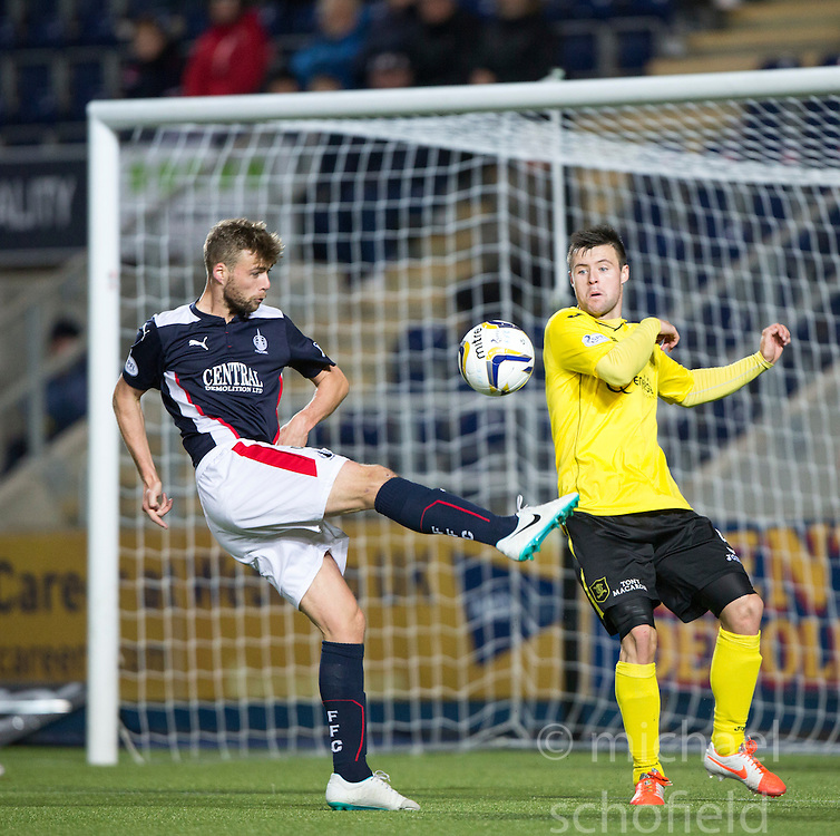 Falkirk's Rory Loy and Livingston's Calum Fordyce.<br /> Falkirk 0 v 0  Livingston, Scottish Championship game played 21/10/2014 at The Falkirk Stadium.