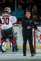 KELOWNA, CANADA - JANUARY 10: Athletic therapist, Scott Hoyer returns to the bench after assessing Roman Basran #30 of the Kelowna Rockets on the ice against the Spokane Chiefs on January 10, 2017 at Prospera Place in Kelowna, British Columbia, Canada.  (Photo by Marissa Baecker/Shoot the Breeze)  *** Local Caption ***