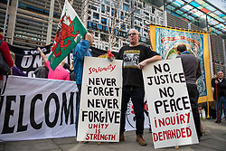 © Licensed to London News Pictures. 13/03/2017. London, UK. Protestors gathered outside the Home Office. Campaigners are calling for an inquiry into the police handling of clashes with strikers during the miners' strike at Orgreave in the 1980s. Photo credit: Rob Pinney/LNP