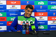 A pleased looking Stephen Kearney at post-match press conference after the Warriors victory. Newcastle Knights v Vodafone Warriors. NRL Rugby League. McDonald Jones Stadium, Newcastle, Australia. 6th July 2019. Copyright Photo: David Neilson / www.photosport.nz