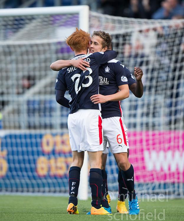 Falkirk's Will Vaulks cele scoring their sixth goal.<br /> Falkirk 6 v 0 Cowdenbeath, Scottish Championship game played at The Falkirk Stadium, 25/10/2014.