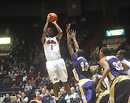 """Ole Miss forward Terrance Henry (1) shoots at the C.M. """"Tad"""" Smith Coliseum in Oxford, Miss. on Thursday, December 29, 2010. Ole Miss won 100-62. (AP Photo/Oxford Eagle, Bruce Newman)"""