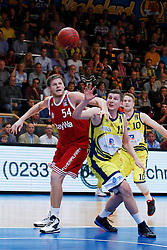 11.10.2014, ENERVIE Arena, Hagen, GER, Beko Basketball BL, Phoenix Hagen vs FC Bayern Muenchen, 4. Runde, im Bild John Bryant (FC Bayern Muenchen #54) gegen Moritz Krume (Phoenix Hagen #11) // during the Beko Basketball Bundes league 4th round match between Phoenix Hagen and FC Bayern Muenchen at the ENERVIE Arena in Hagen, Germany on 2014/10/11. EXPA Pictures © 2014, PhotoCredit: EXPA/ Eibner-Pressefoto/ Schueler<br /> <br /> *****ATTENTION - OUT of GER*****
