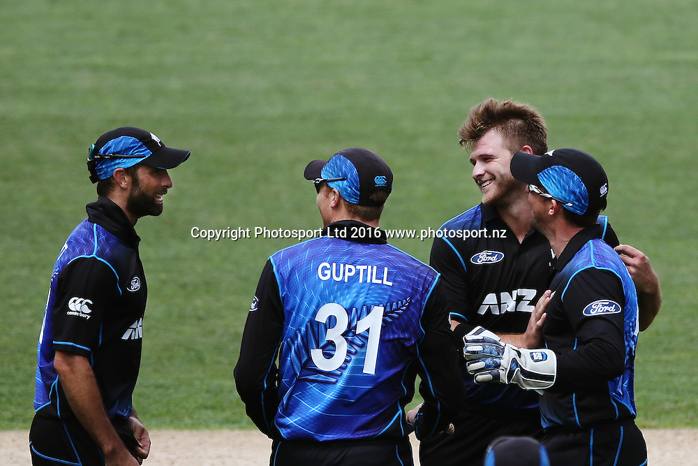 Corey Anderson of New Zealand celebrates for his wicket of Wahab Riaz of Pakistan. ANZ International Series, One Day International between New Zealand Back Caps and Pakistan at Eden Park in Auckland, New Zealand. 31 January 2016. Photo: Anthony Au-Yeung / www.photosport.nz