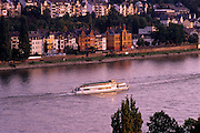 Image of the town of Koblenz along the Rhine River at dusk, Germany
