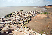 Rock armour barriers to control coastal erosion, Bawdsey, Suffolk, England