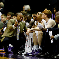 Jan 5, 2013; Baton Rouge, LA, USA; LSU Tigers head coach Johnny Jones talks to his players during the first half of a game against the Bethune-Cookman Wildcats at the Pete Maravich Assembly Center. Mandatory Credit: Derick E. Hingle-USA TODAY Sports