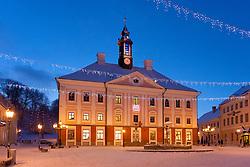 Snowy Tartu Town Hall Square With Christmas Decoration in Tartu, Estonia