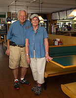 Larry and Patty Litchfield owners of Sawyers Dairy Bar.  (Karen Bobotas/for the Laconia Daily Sun)