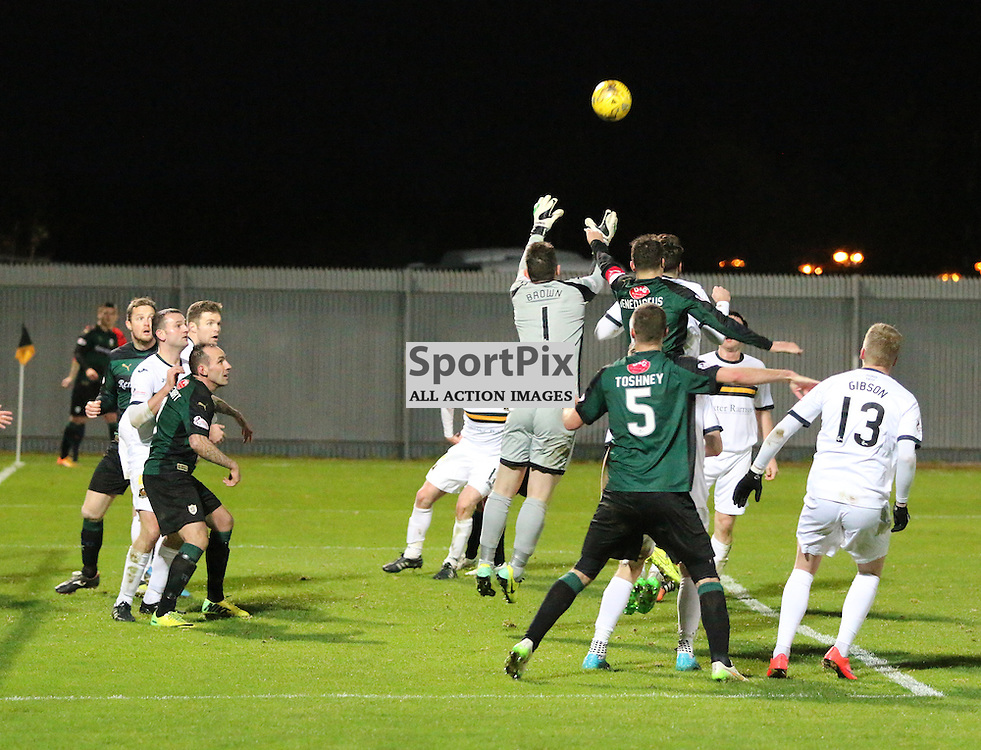 Mark Brown come to collect  during the Dumbarton v Raith Rovers Scottish Championship 21  November 2015 <br /> <br /> (c) Andy Scott | SportPix.org.uk