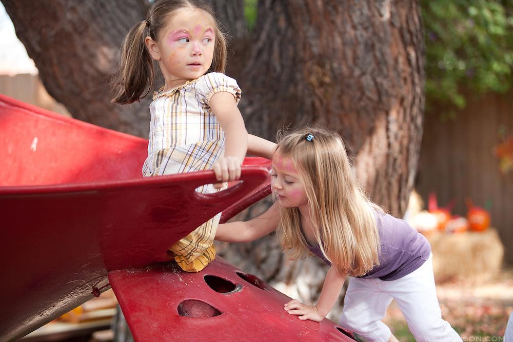 Jaden Mangini, 4, and Teresa Hofmeister, 3