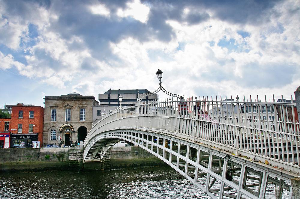 Liffey Bridge in Dublin, Ireland is a pedestrian bridge also known as Ha'penny Bridge, Metal Bridge,and  Wellington Bridge.