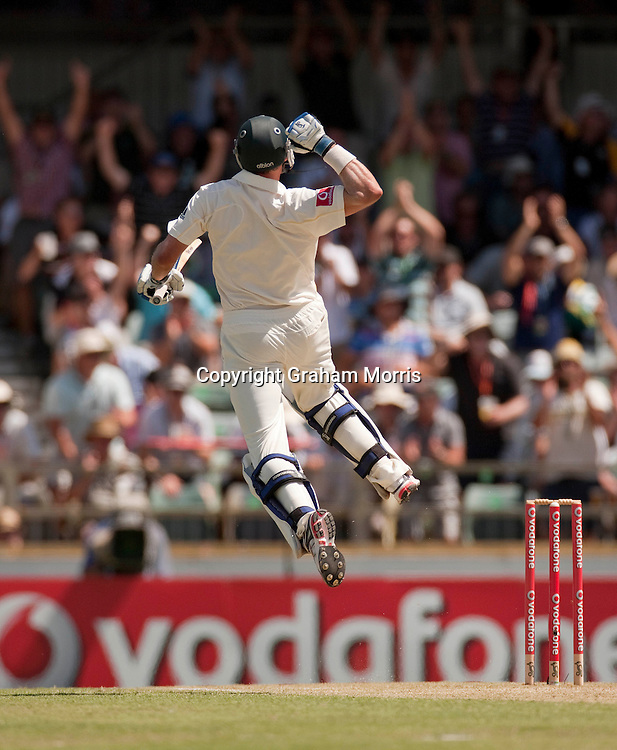 Michael Hussey celebrates his century in the third Ashes test match between Australia and England at the WACA (West Australian Cricket Association) ground in Perth, Australia. Photo: Graham Morris (Tel: +44(0)20 8969 4192 Email: sales@cricketpix.com) 18/12/10